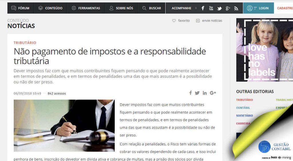 Não pagamento de impostos e a responsabilidade tributária #negócios #escritóriocontábil #acessoriacontábil #responsabilidadetributária #soubuzzer (TOP 5 – Set)