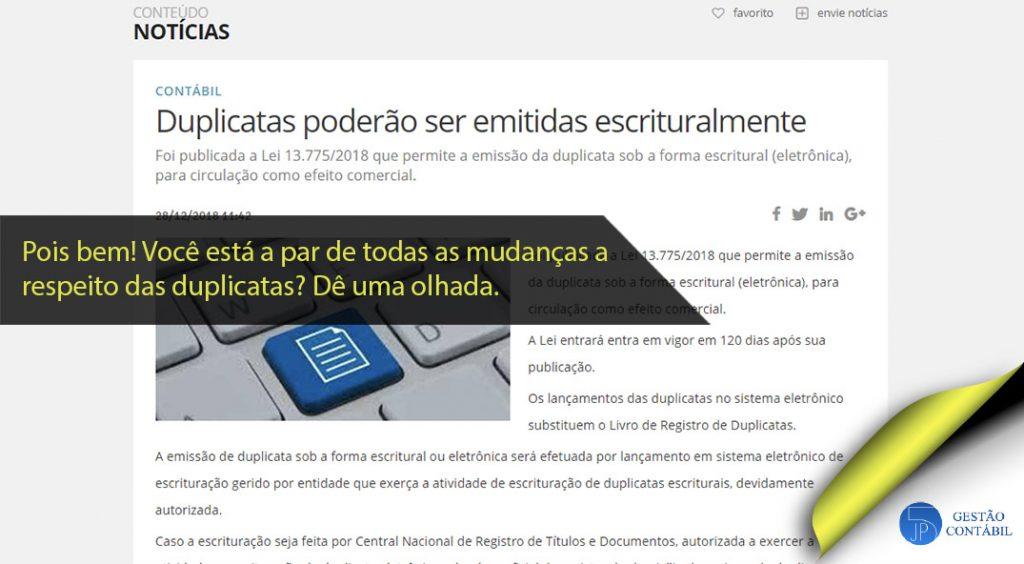 Duplicatas poderão ser emitidas escrituralmente #negócios #contabilidadebasica #acessoriacontabil #escritoriodecontabilidade #duplicataeletronica (TOP 4 – Jan)