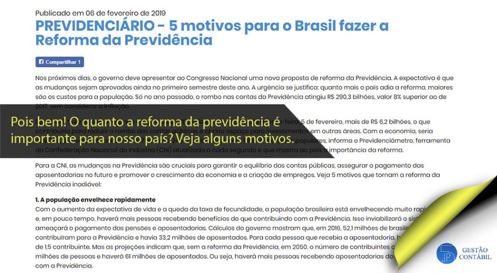 5 motivos para o Brasil fazer a Reforma da Previdência #negócios #contabilidadebasica #acessoriacontabil #escritoriodecontabilidade #reformadaprevidência (TOP 4 – Fev)