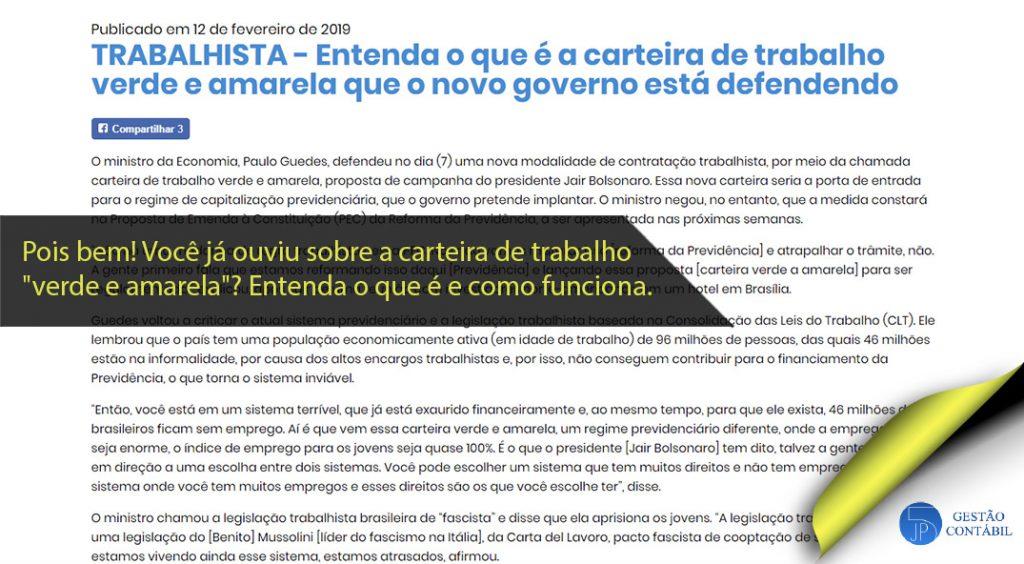 Entenda o que é a carteira de trabalho verde e amarela que o novo governo está defendendo #negócios #contabilidadebasica #acessoriacontabil #escritoriodecontabilidade #carteiradetrabalho (TOP 4 – Mar)